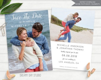simple save the date, save the date template, printable save the date, save the date photoshop template, photo save the date template, PSD