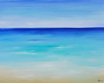 "Beach painting Beach art Ocean art Abstract beach painting Seascape painting Ocean abstract painting Original oil painting on canvas 24x18"""