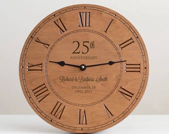 Personalized Anniversary Wood Clock: Milestone Anniversary Gift, Personalized Anniversary Gift, 25th Anniversary Gift, 50th Anniversary Gift