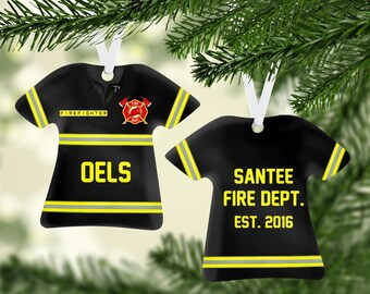 Fireman Coat Black/Yellow Ornament