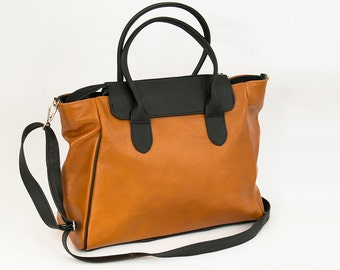 Leather MESSENGER BAG, Crossbody Leather Bag. Shoulder Bag, Leather Laptop Bag, Gift for Her, Handmade Handbag, Women's Bag, Tan Leather Bag