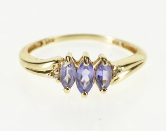 10K Three Stone Marquise Tanzanite Diamond Accent Ring Size 7.25 Yellow Gold