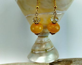 Handmade Faceted Orange Serpentine Stone Earrings - 235A