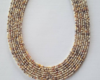 Neutral seed bead necklace - seed bead necklace - necklace - neutral - beige- cream