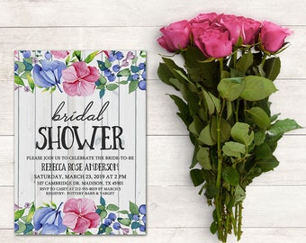 Rustic Floral Bridal Shower Invitation, Wedding Shower, Baby Shower Invitation, Floral Bridal, Watercolor Flowers, Printable No. 1051