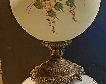 Vintage Hand Painted Gone With The Wind/ Hurricane Lamp