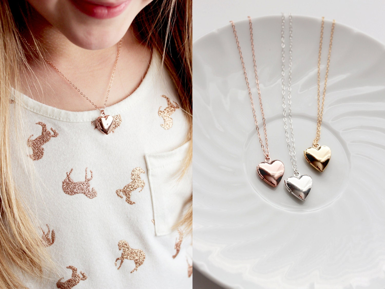 Childrens Locket Necklace Silver Heart Locket Gold