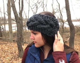 The Emma Ear Warmer in Charcoal