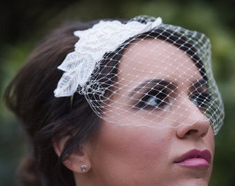 Pearl Rose Lace Side Tiara Hairpiece Blusher Birdcage Veil
