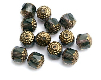 Smoky Grey Bronze 10mm Faceted Cathedral Czech Glass Beads x 6