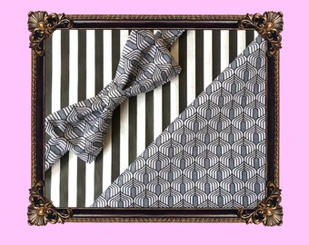 Grey flapper patterned bow tie and pocket square set / Gift set