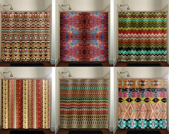 bohemian gypsy hippie boho shower curtain fabric, extra long window panel, kids bathroom decor, custom valance bathmat
