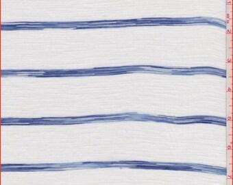 White/Denim Blue Stripe T Shirt Knit, Fabric By The Yard