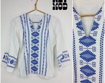 Cool Boho Vintage 70s White Gauze Hippie Shirt with Blue Embroidery