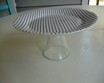 Black and White Polka Dot Repurposed Cake Stand