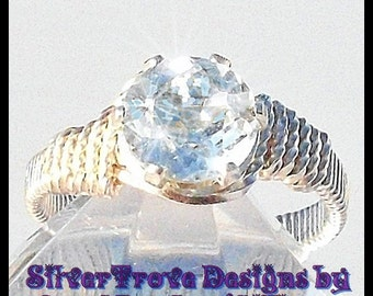 Sky Blue Topaz Ring, Sterling Silver Ring, Size 8 Ring, Wire Wrapped Ring, Wire Ring, Aquamarine Blue Ring, December Birthstone Ring