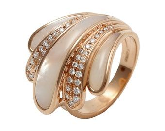 0.35 CT IGI Certified Natural Diamond 14KT Rose Gold White Shell Ring | Sea Shell Ring | Natural Diamond Ring