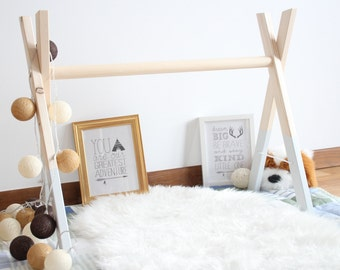 Light grey baby wooden gym / Stylish and natural / Safe for baby / Eco friendly paint / Nursery Decor / Baby Sensory Toy