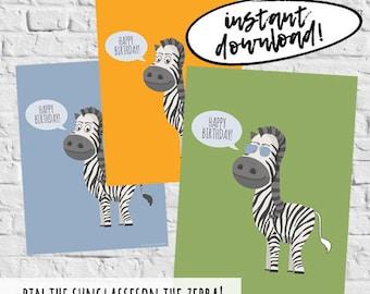 Pin The Tail Safari Zebra Instant Digital Download Game Printable Birthday Party Games