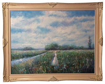 Monumental Impressionist-Style Oil Painting