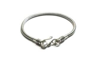 Sterling Silver 5MM  Snake Chain Bracelet , Hook Clasp , Unisex  Bracelet