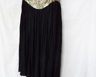 Vintage Black Boho Sequined Beaded Yoke Skirt Hip Full Plus Size