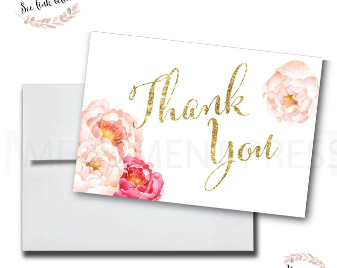 Peony Thank You Card // Made to Match // Folded Thank You // A7 // Peonies // Gold Glitter //Instant Download // CALABASAS COLLECTION