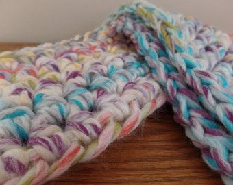 Women's crochet chunky rainbow infinity scarf