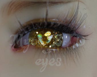 Golden 14mm bjd eyes with gold detail