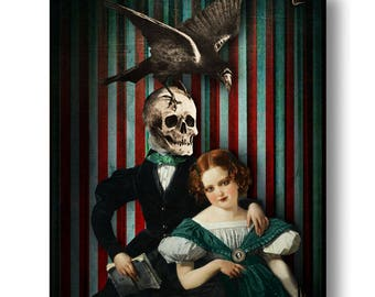 Skull Death And The Maiden Print Digital Art Surreal Home Decor Goth Halloween Circus Crow Portrait