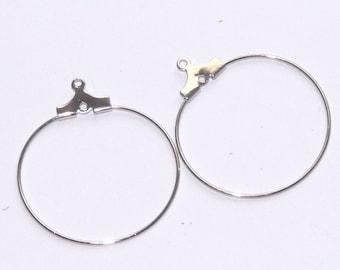 support earrings 25mm diameter silver metal hoop earrings sold by 2