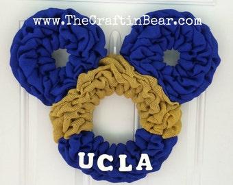 UCLA Mickey Mouse wreath - Burlap wreath - Mickey mouse wreath - UCLA wreath - UCLA burlap wreath - Bruins wreath