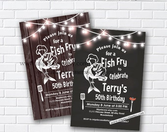 fish fry party, birthday fish fry, birthday party, adult party, fishing invitation, fish cook off, fish invitation, fishing party - card 969