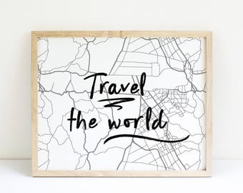 Travel Quote Printable Art Print, Black and White, Gift for Her, Bedroom Decor, Trending Now, Travel Gift, Last Minute Gift