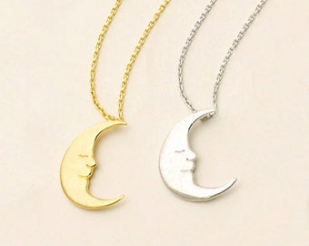 Dainty Moon Necklace in Gold/Silver NB591