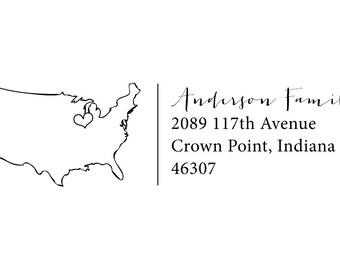 hometown love rubber address stamp