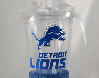 Detroit Lions Glitter Dipped Double Wall Tumbler