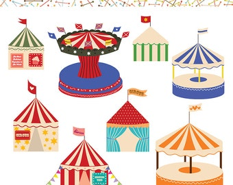 Lovely Circus Tents - Big Tops Digital Download - Scrapbooking Clipart - Printable Digital Clip Art - Instant Download Commercial Use