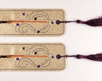 Magic wand 2ITH traditional book mark 4x4 machine embroidery design
