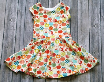 Colorful Apple Dress. Apple Dress. Back to School Dress. Fall Dress. Baby Dress. Toddler Dress. Twirl Dress. Twirly Dress. Play Dress.