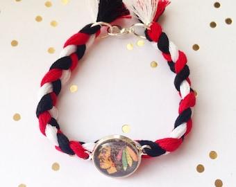 Braided Blackhawks Bracelet