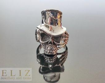 17.3 Handmade Top Hat Slash Skull .925 Sterling Silver Rocker Biker Goth Ring 9' 9.5' 11'