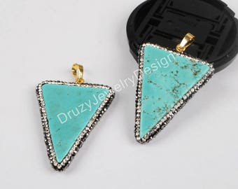 5pieces,Rhinestone Pave Pendant,Blue Natural White Howlite Turqouoise Pendant,Triangle Point Pendant,Howlite Stone,Howlite Pendant,JD630-JB