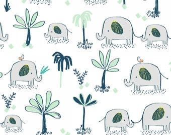 Hakuna Matata, Dear Stella Fabric by the Yard, White Elephant Trek, ST-972WHT