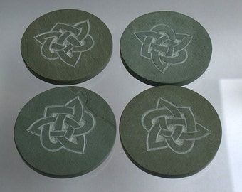 Hand carved stone coasters Jade green Slate Celtic knot design Love symbol home decor