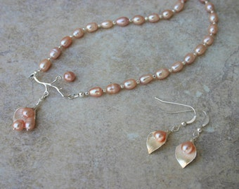 Peach Pink Pearl Petal Necklace and Earring Set, Freshwater Pearl Necklace and Earring Set, Wedding Jewelry