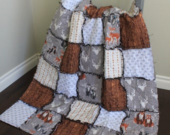 Baby Boy Quilt, Brown And Grey, Rag Quilt, Deer Quilt, Fox, Bear, Gift, Rustic Nursery, Bear Quilt, Baby Quilt, Hello Bear, Ready To Ship