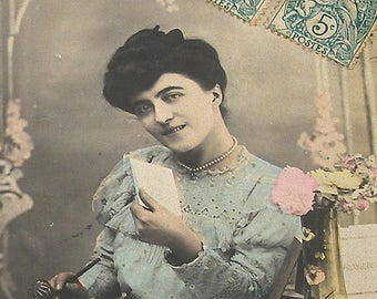 1906 French postcard, Lady writing letter. RPPC real photo postcard, paper ephemera.