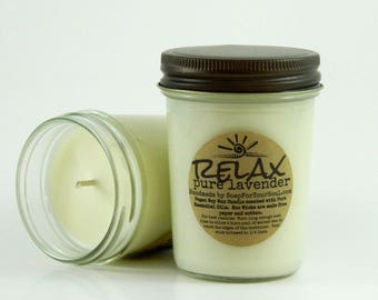 RELAX - Lavender Essential Oil Soy Candle 8 oz Jar