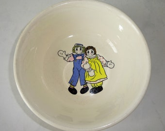 Vintage Ceramic Bowl Raggedy Ann and Andy Round Taylor Smith and Taylor Signed